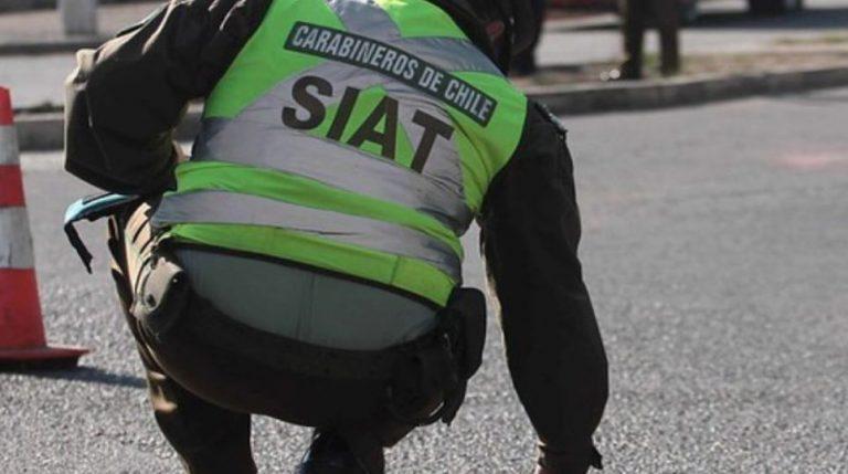 Carabinero queda en riesgo vital tras sufrir violento choque en su motocicleta