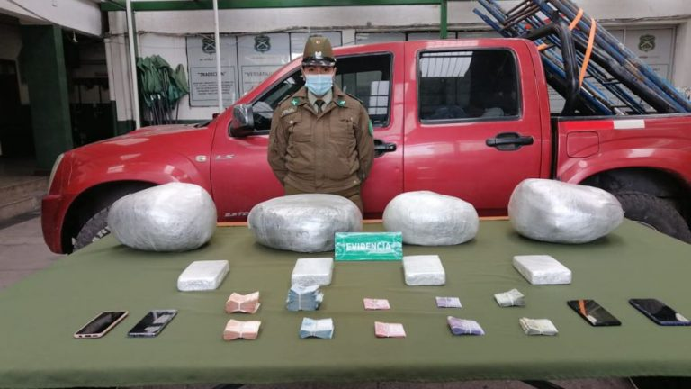 Mulchén: hombre y mujer transportaban más de 20 kilos de droga y cinco millones en efectivo