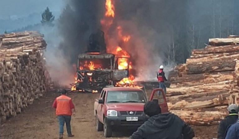 Registran ataque incendiario en Toltén: desconocidos destruyeron máquinas de una forestal