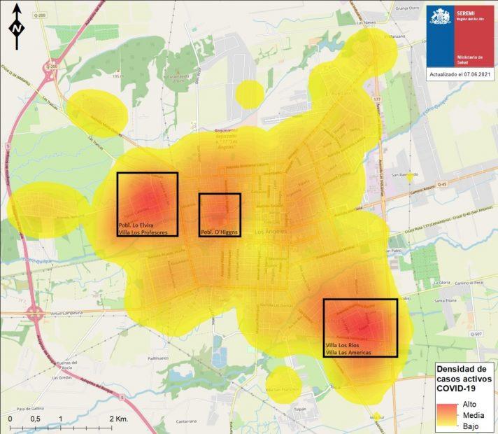 mapa de calor más del 60% de los casos de los angeles