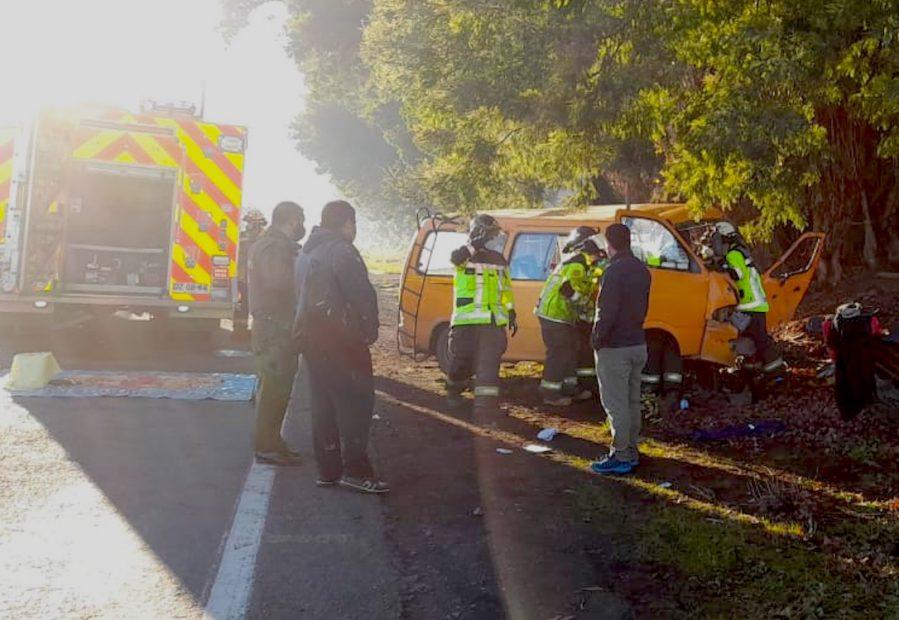 Un furgón chocó con un árbol en la ruta a cerro colorado