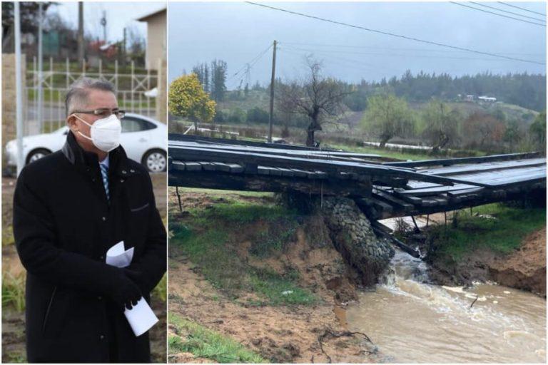 Alcalde de Yumbel pide «solución urgente» tras colapso de un puente por temporal