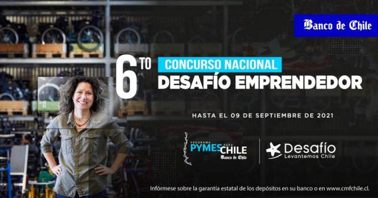 Banco de Chile y Desafío Levantemos Chile lanzan 6º Concurso Nacional Desafío Emprendedor e invitan a participar a microempresas y Pymes de todo el país
